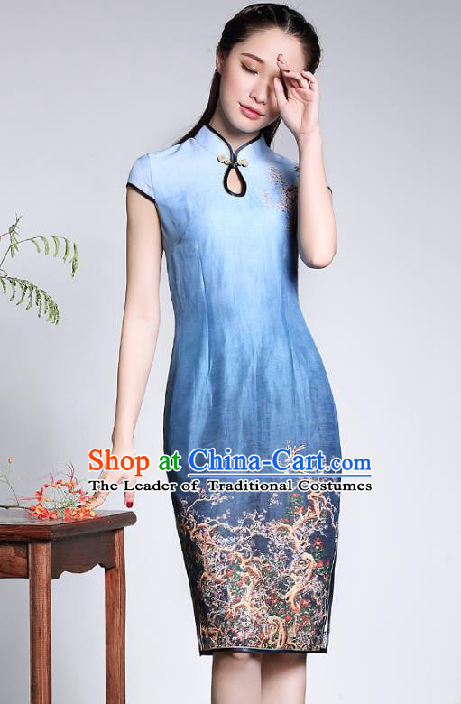 Traditional Ancient Chinese Young Lady Retro Stand Collar Printing Blue Silk Cheongsam, Asian Republic of China Qipao Tang Suit Dress for Women