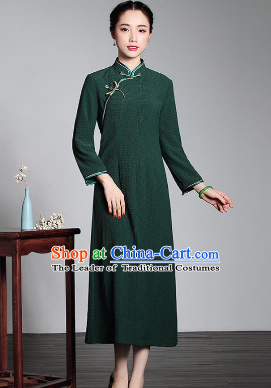 Traditional Ancient Chinese Young Lady Retro Stand Collar Green Cheongsam, Asian Republic of China Qipao Tang Suit Dress for Women