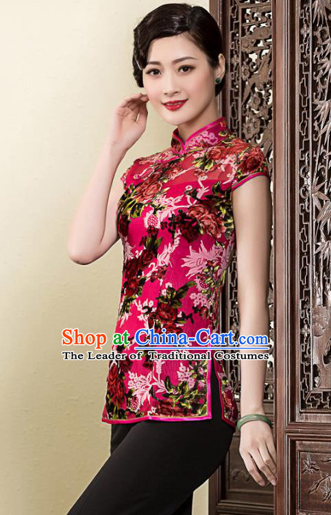 Traditional Ancient Chinese Young Lady Retro Stand Collar Printing Velvet Cheongsam Blouse, Asian Republic of China Qipao Tang Suit  Upper Outer Garment for Women