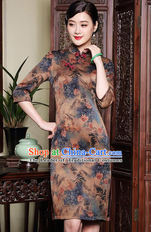 Traditional Ancient Chinese Young Lady Retro Stand Collar Printing Watered Gauze Cheongsam, Asian Republic of China Qipao Tang Suit Dress for Women