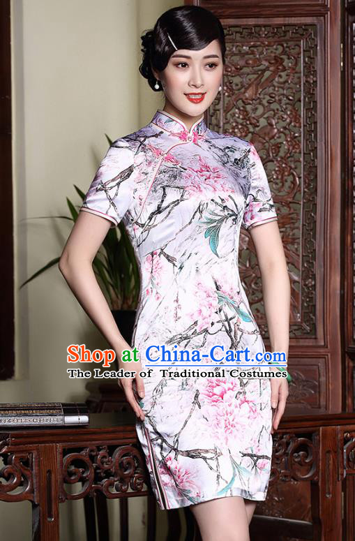 Traditional Ancient Chinese Young Lady Retro Stand Collar Printing Silk Short Cheongsam, Asian Republic of China Qipao Tang Suit Dress for Women