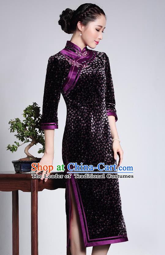 Traditional Ancient Chinese Young Lady Retro Stand Collar Purple Velvet Cheongsam Blouse, Asian Republic of China Qipao Tang Suit Upper Outer Garment for Women