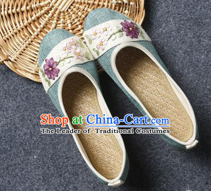 Traditional Chinese National Embroidered Shoes Green Linen Shoes, China Handmade Hanfu Embroidery Flower Wedding Shoes for Women