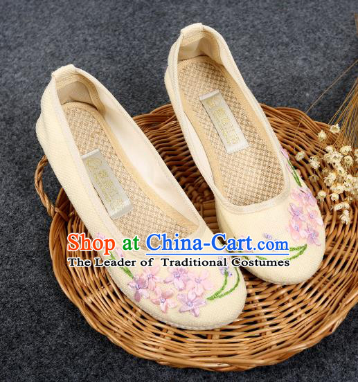 Traditional Chinese National Embroidered Shoes Beige Linen Shoes, China Handmade Hanfu Embroidery Flower Wedding Shoes for Women