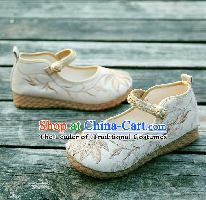 Traditional Chinese National Embroidered Shoes Beige Linen Shoes, China Handmade Hanfu Embroidery Lotus Flowers Shoes for Kids