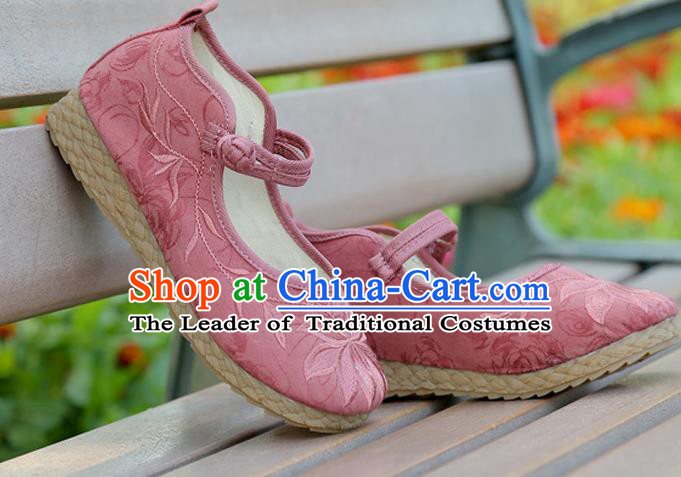 Traditional Chinese National Embroidered Shoes Pink Linen Shoes, China Handmade Hanfu Embroidery Lotus Flowers Shoes for Kids