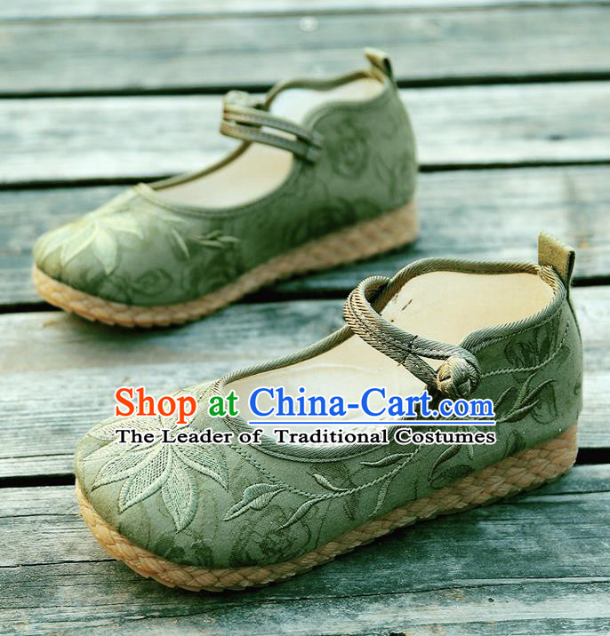 Traditional Chinese National Embroidered Shoes Green Linen Shoes, China Handmade Hanfu Embroidery Lotus Shoes for Kids