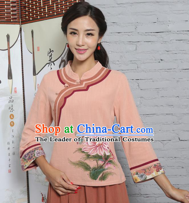 Asian China Hand Painting Printing Peony Linen Cheongsam Blouse, Traditional Chinese Tang Suit Hanfu Shirts for Women