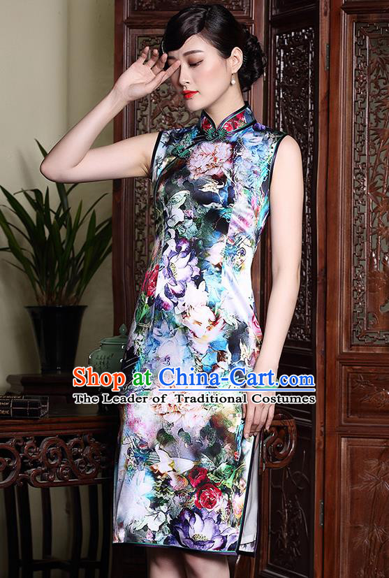 Traditional Ancient Chinese Young Lady Retro Stand Collar Purple Cheongsam, Asian Republic of China Qipao Tang Suit Silk Dress for Women