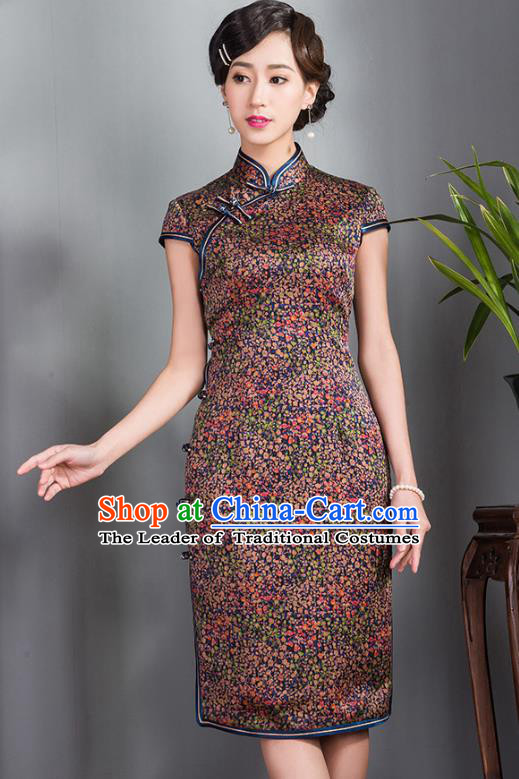 Traditional Ancient Chinese Young Lady Retro Stand Collar Cheongsam, Asian Republic of China Qipao Tang Suit Silk Dress for Women