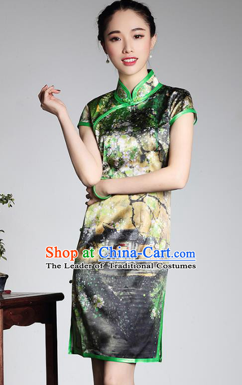 Traditional Ancient Chinese Young Lady Retro Stand Collar Black Velvet Cheongsam, Asian Republic of China Qipao Tang Suit Silk Dress for Women