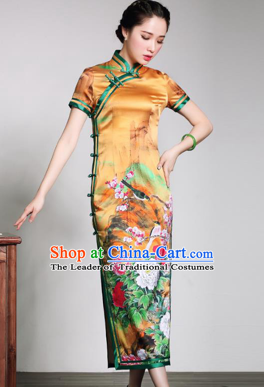 Asian Republic of China Young Lady Retro Stand Collar Printing Peony Yellow Silk Cheongsam, Traditional Chinese Qipao Tang Suit Dress for Women