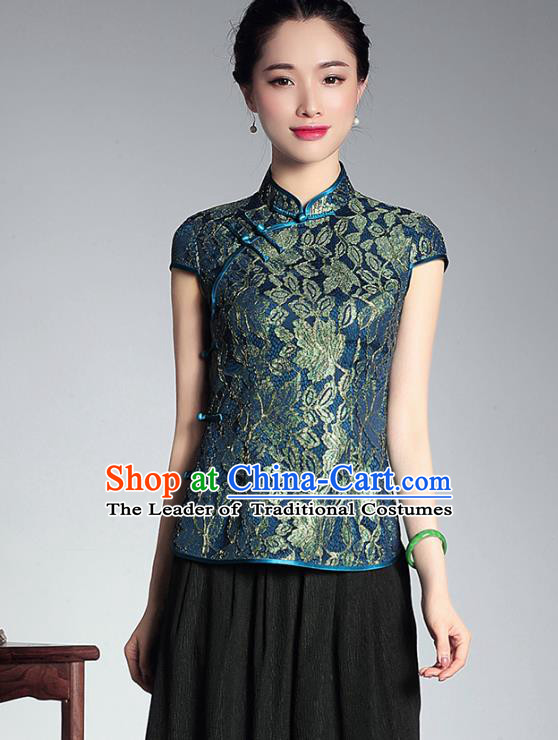 Asian Republic of China Young Lady Retro Stand Collar Green Lace Cheongsam Blouse, Traditional Chinese Qipao Shirts Tang Suit Upper Outer Garment for Women