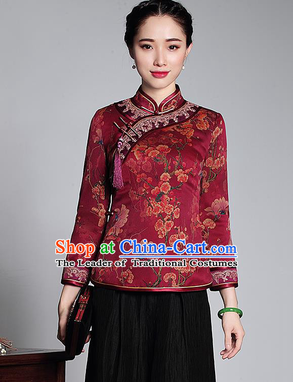 Asian Republic of China Young Lady Retro Stand Collar Watered Gauze Cheongsam Blouse, Traditional Chinese Qipao Shirts Tang Suit Upper Outer Garment for Women