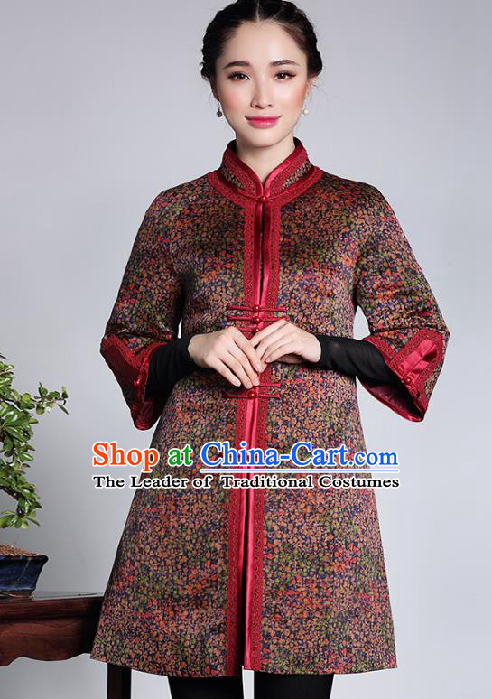 Asian Republic of China Young Lady Retro Stand Collar Cheongsam Coats, Traditional Chinese Qipao Jacket Tang Suit Upper Outer Garment for Women