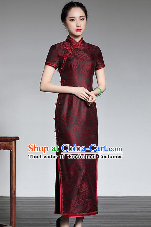 Asian Republic of China Young Lady Retro Stand Collar Satin Cheongsam, Traditional Chinese Embroidered Qipao Tang Suit Dress for Women