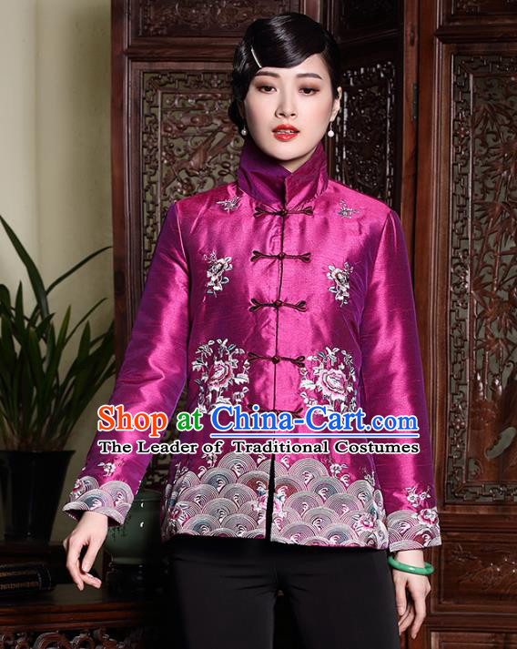 Asian Republic of China Young Lady Retro Stand Collar Embroidered Cotton-padded Jacket, Traditional Chinese Qipao Coats Tang Suit Upper Outer Garment for Women