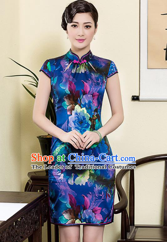 Asian Republic of China Young Lady Retro Plated Buttons Blue Silk Cheongsam, Traditional Chinese Printing Qipao Tang Suit Dress for Women