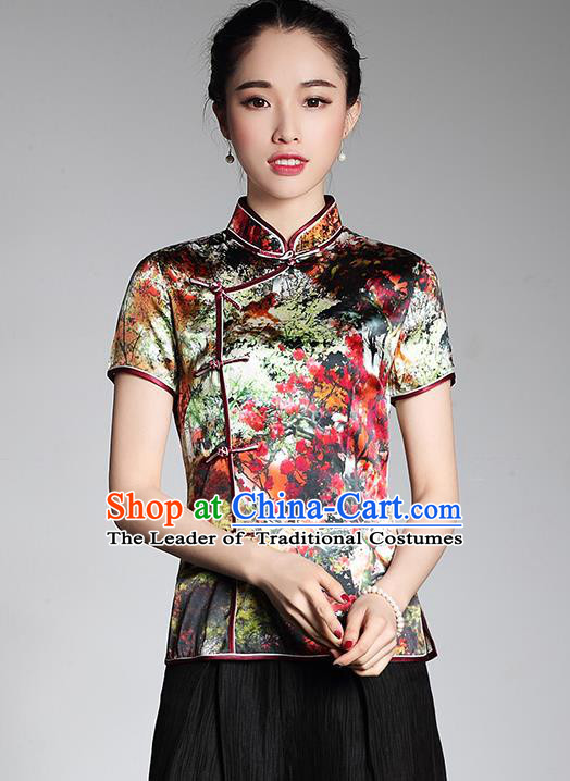 Asian Republic of China Young Lady Retro Stand Collar Printing Silk Cheongsam Blouse, Traditional Chinese Qipao Shirts Tang Suit Upper Outer Garment for Women