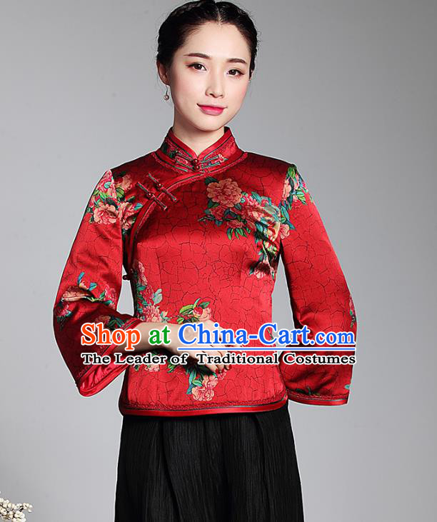 Asian Republic of China Young Lady Retro Stand Collar Printing Red Silk Cheongsam Blouse, Traditional Chinese Qipao Shirts Tang Suit Upper Outer Garment for Women