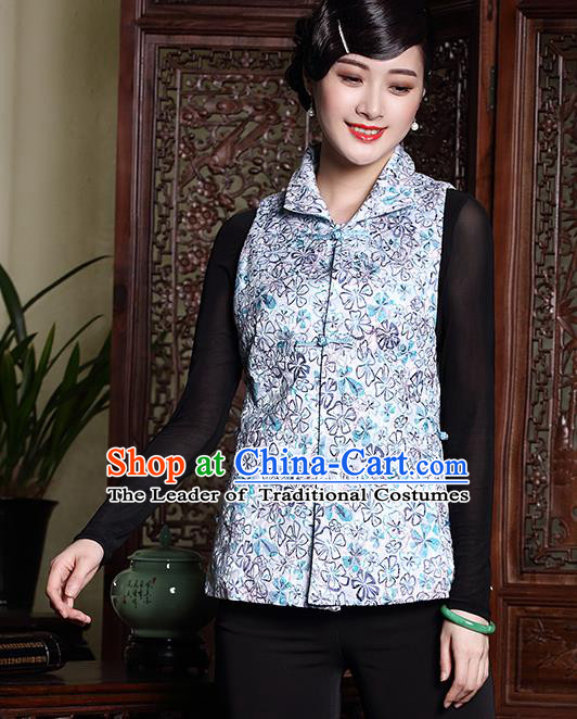 Asian Republic of China Young Lady Retro Plated Buttons Blue Cheongsam Vests, Traditional Chinese Qipao Waistcoat Tang Suit Upper Outer Garment for Women