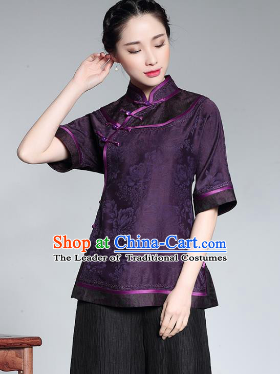 Asian Republic of China Young Lady Retro Plated Buttons Purple Cheongsam Blouse, Traditional Chinese Silk Qipao Shirts Tang Suit Upper Outer Garment for Women