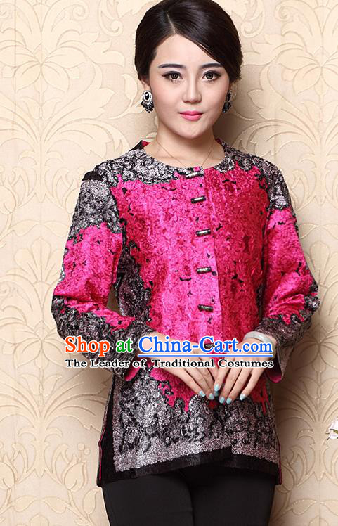 Asian Republic of China Young Lady Retro Plated Buttons Printing Rosy Jacket, Traditional Chinese Tang Suit Upper Outer Garment Coats for Women
