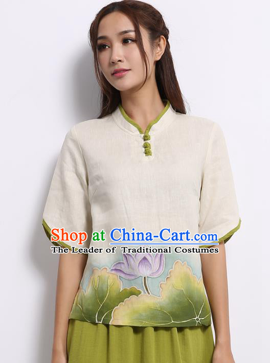 Asian China Top Grade White Linen Hand Painting Green Lotus Cheongsam Blouse, Traditional Chinese Tang Suit Hanfu Plated Button Qipao Shirts for Women