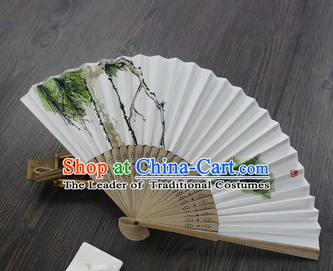 Traditional Chinese Printing Folding Fans, China Handmade Hanfu Paper Fan for Women