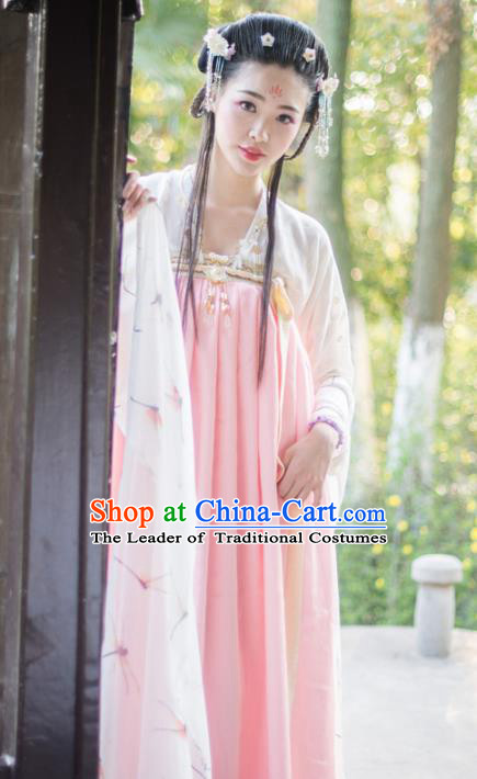 Asian China Tang Dynasty Imperial Concubine Costume, Traditional Chinese Ancient Princess Hanfu Clothing for Women