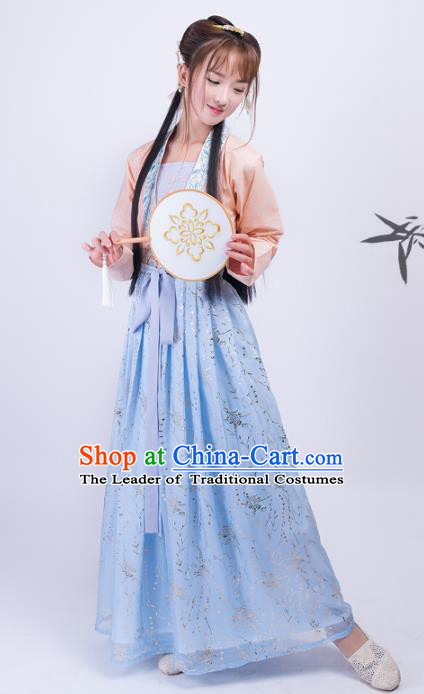 Asian China Song Dynasty Palace Lady Costume, Traditional Chinese Ancient Princess Embroidered Hanfu Clothing for Women
