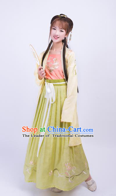 Asian China Song Dynasty Young Lady Costume Palace Lady Embroidery BeiZi Blouse and Skirt Complete Set