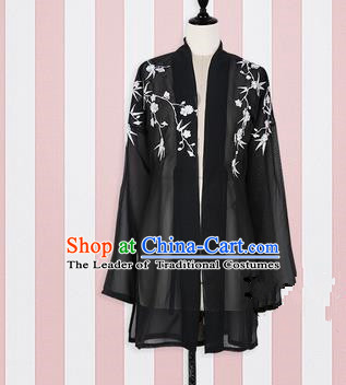 Asian China Song Dynasty Princess Embroidered Costume, Traditional Ancient Chinese Palace Lady Embroidery Black Blouse for Women