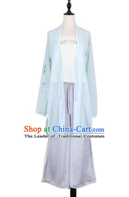Asian China Song Dynasty Young Lady Embroidered Costume Complete Set, Traditional Ancient Chinese Princess Embroidery Hanfu Clothing for Women