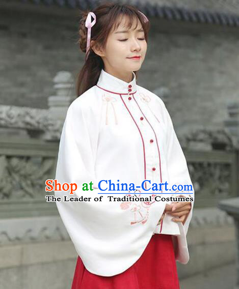 Asian China Ming Dynasty Young Lady Costume White Embroidered Blouse, Traditional Ancient Chinese Princess Elegant Hanfu Shirts Clothing for Women