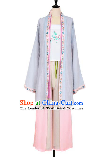 Asian China Song Dynasty Young Lady Costume Embroidered Blouse and Pants Complete Set, Traditional Ancient Chinese Princess Elegant Hanfu Clothing for Women