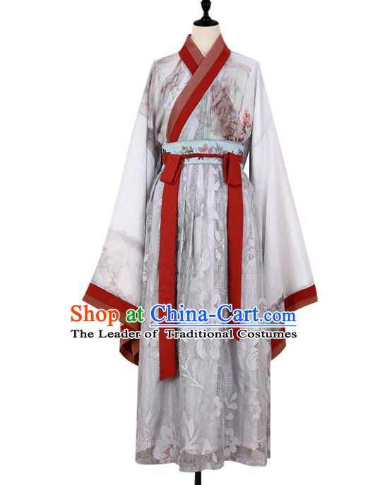 Asian China JIn Dynasty Palace Lady Embroidered Clothing, Traditional Ancient Chinese Imperial Princess Hanfu Dress Clothing for Women