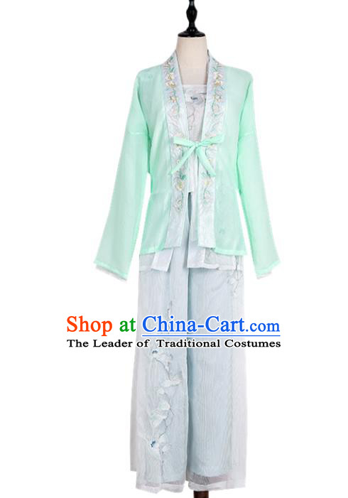Asian China Song Dynasty Young Lady Embroidered Costume, Traditional Ancient Chinese Princess Elegant Hanfu Embroidery Blouse and Pants Clothing for Women