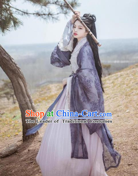 Asian China Jin Dynasty Princess Embroidered Clothing Complete Set, Traditional Ancient Chinese Palace Lady Hanfu Navy Cardigan for Women