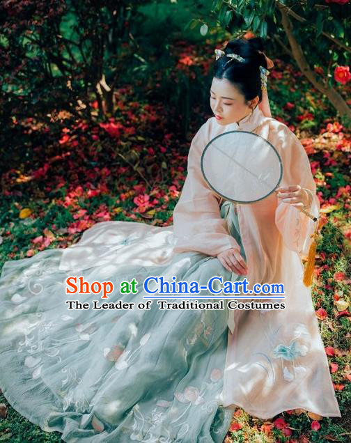 Asian China Ming Dynasty Princess Clothing Embroidered Lotus Costume Complete Set, Traditional Ancient Chinese Palace Lady Hanfu for Women