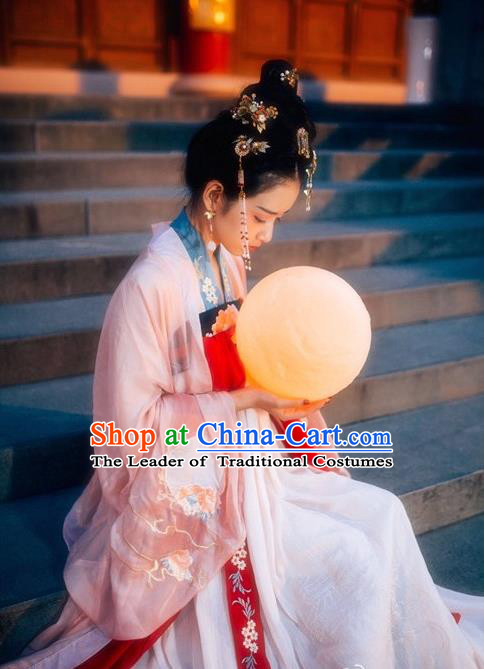 Asian China Tang Dynasty Palace Lady Costume Princess Embroidered Clothing Complete Set for Women