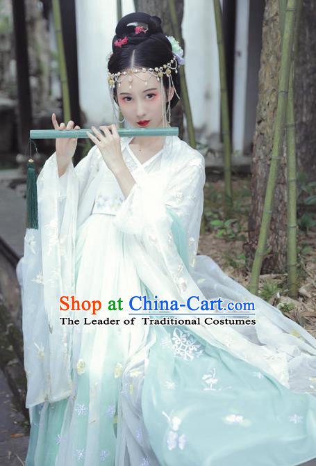 Asian China Tang Dynasty Palace Lady Costume, Traditional Ancient Chinese Imperial Concubine Embroidered Elegant Hanfu Clothing for Women