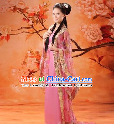 Asian China Ancient Tang Dynasty Imperial Consort Fairy Costume, Traditional Chinese Empress Embroidered Pink Tailing Dress Clothing for Women