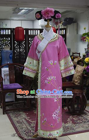 Traditional Ancient Chinese Imperial Consort Costume, Chinese Qing Dynasty Manchu Lady Embroidered Pink Dress Clothing for Women