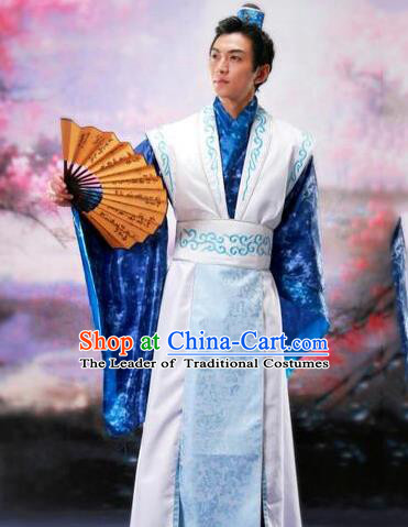 Traditional Ancient Chinese Prince Hanfu Scholar Costume, Asian Chinese Han Dynasty Nobility Childe Clothing for Men