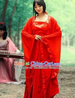 Asian China Ancient Tang Dynasty Palace Lady Costume, Traditional Chinese Hanfu Imperial Concubine Embroidered Dress Clothing for Women