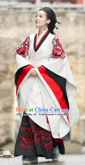 Traditional Chinese Ancient Imperial Empress Embroidered Costume, China The King Woman Qin Dynasty Palace Queen Dress Clothing