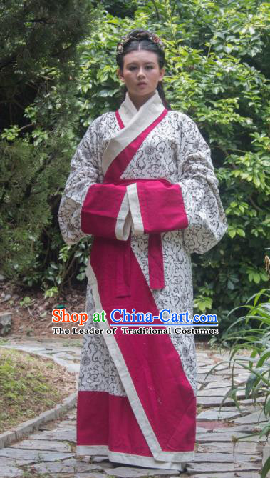 Traditional Ancient Chinese Imperial Princess Hanfu Costume, Asian China Han Dynasty Imperial Empress Curve Bottom Clothing for Women