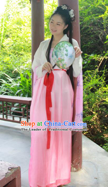 Traditional Ancient Chinese Imperial Princess Hanfu Costume, Asian China Tang Dynasty Palace Lady Pink Dress Clothing for Women