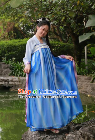 Traditional Ancient Chinese Imperial Princess Hanfu Blue Costume, Asian China Tang Dynasty Palace Lady Dress Clothing for Women